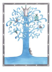 13x18 blått träd stämpel